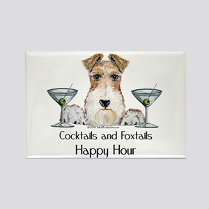 Wire Fox Terrier Happy Hour Rectangle Magnet