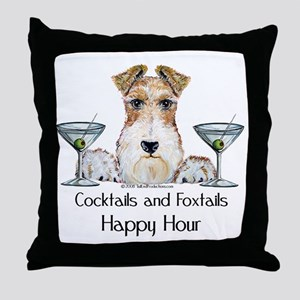 Wire Fox Terrier Happy Hour Throw Pillow