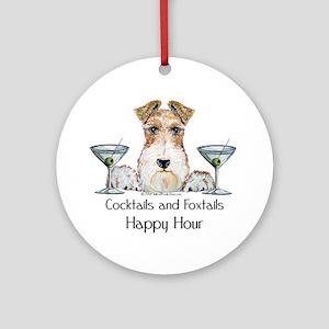 Wire Fox Terrier Happy Hour Ornament (Round)