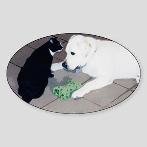 Cat & Lab Friends Oval Sticker