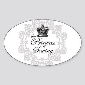 The Princess is Sewing Oval Sticker