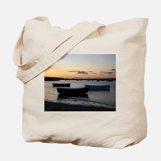 Maine Dinghy Boat Sunset Tote Bag