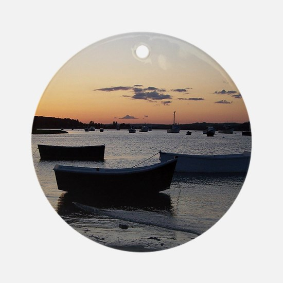 Maine Dinghy Boat Sunset Ornament (Round)