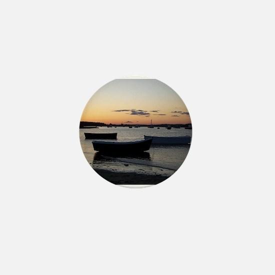 Maine Dinghy Boat Sunset Mini Button
