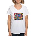 Cosmic Ribbons Women's V-Neck T-Shirt