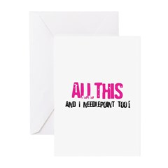 All This and I Needlepoint Greeting Cards (Pk of 2