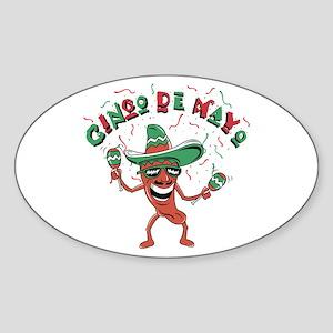 Cinco de Mayo Chili Pepper Oval Sticker