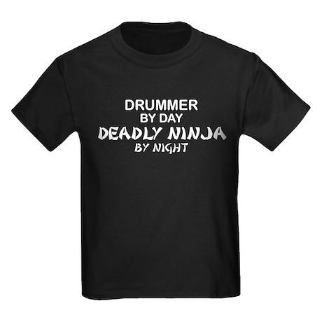 Drummer Deadly Ninja Kids Dark T-Shirt