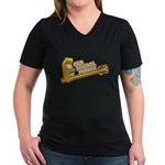Old School Player Women's V-Neck Dark T-Shirt