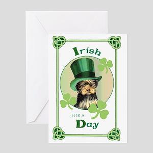 St. Patrick Yorkie Greeting Card