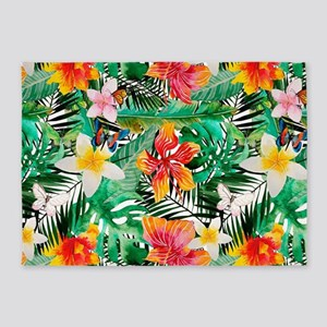 Tropical Aloha Jungle Pattern 5'x7'Area Rug