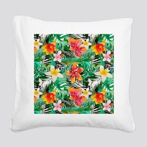 Tropical Aloha Jungle Pattern Square Canvas Pillow