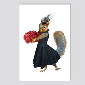 Squirrel Dress Roses Postcards (package Of 8)