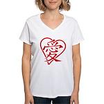 China red heart Women's V-Neck T-Shirt
