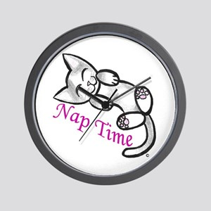 Kitty Cat Nap Time Wall Clock