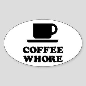 Coffee Whore Oval Sticker