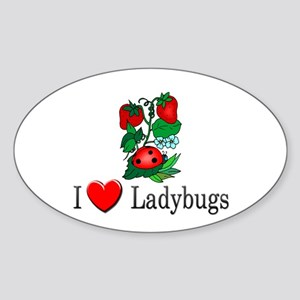 I Love Ladybugs Oval Sticker