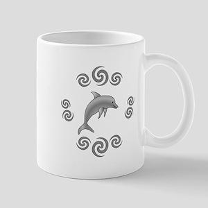 Fun Dolphin in Swirls Mugs
