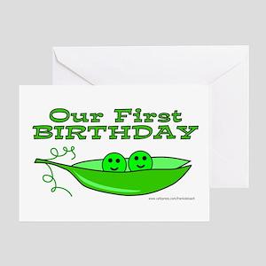 TWINS' FIRST BIRTHDAY Greeting Card