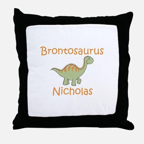 Brontosaurus Nicholas Throw Pillow