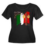 Italian Women's Plus Size Scoop Neck Dark T-Shirt