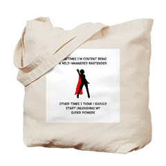Superheroine Bartender Tote Bag