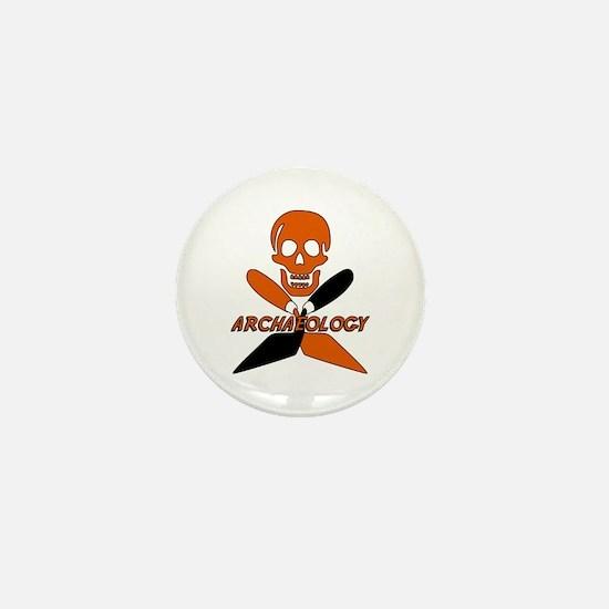 Skull & Crossed Trowels Mini Button