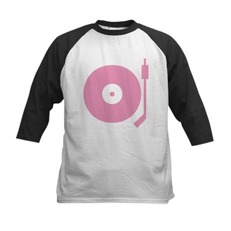 Old school record player pink Kids Baseball Jersey