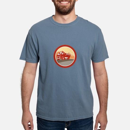 Sewage Drainage Truck Hydro Unit Oval Retro T-Shir