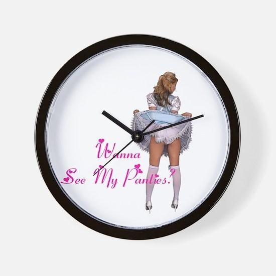 Wanna see my panties? Wall Clock