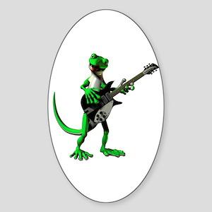 Electric Guitar Gecko Sticker (Oval)