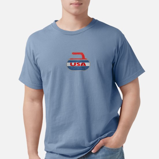 Curling USA Stone Red White and Blue T-Shirt