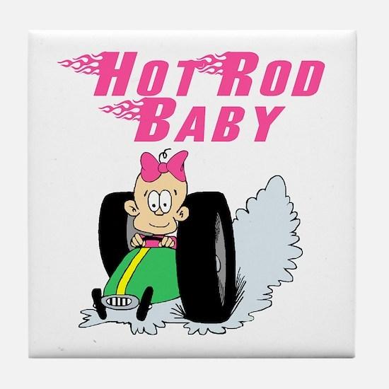 Hot Rod Baby Pink Tile Coaster