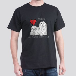 Maltese Leave Paw Prints Dark T-Shirt