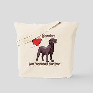 Chocolate Labs Leave Paw Prints Tote Bag