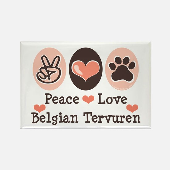 Peace Love Belgian Tervuren Rectangle Magnet
