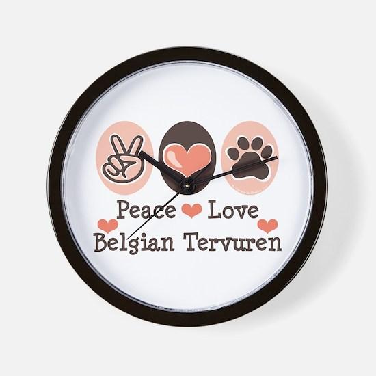Peace Love Belgian Tervuren Wall Clock