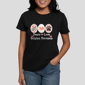 Peace Love Belgian Tervuren Women's Dark T-Shirt