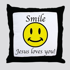 Smile Jesus Throw Pillow