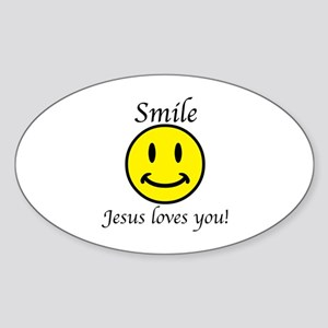 Smile Jesus Sticker (Oval)