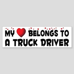 Belongs To A Truck Driver Bumper Sticker