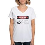Danger. Do not hold the wrong Women's V-Neck T-Shi