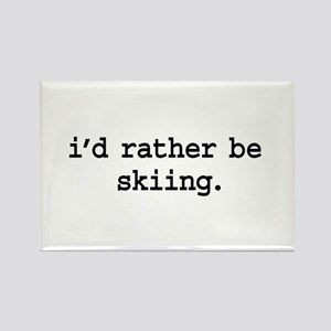 i'd rather be skiing. Rectangle Magnet