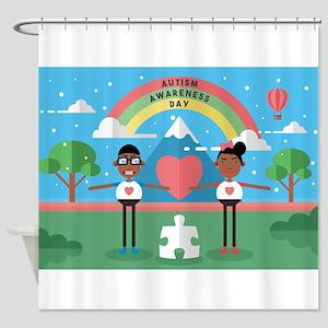 black autism awareness kids Shower Curtain