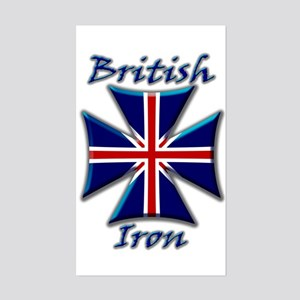 British Iron Maltese Cross Rectangular Sticker