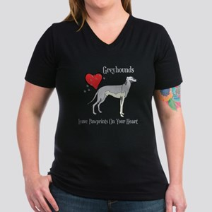 Greyhounds Leave Paw Prints Women's V-Neck Dark T-