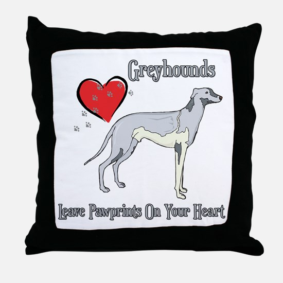 Greyhounds Leave Paw Prints Throw Pillow