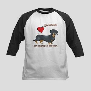 Dachshunds Leave Paw Prints Kids Baseball Jersey