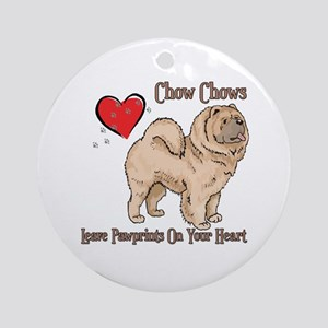 Chow Chows Leave Paw Prints Ornament (Round)