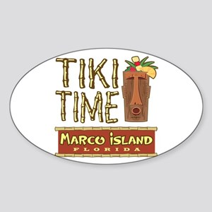 Marco Island Tiki Time - Oval Sticker